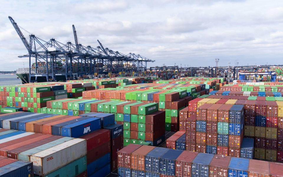 Thousands of shipping containers at the port of Felixstowe in Suffolk - Joe Giddens/PA Wire