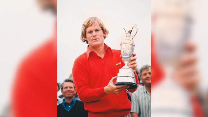 Golf - The Open Championship Johnny Miller (USA) celebrates with the trophy winning the British Open Golf Championships at Royal Birkdale 1976 10/07/1976 1976 Birkdale Open: Final DaySport.