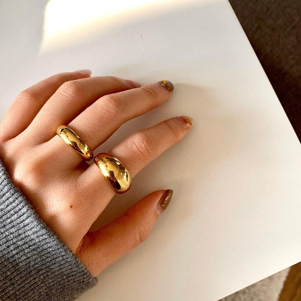<p>Stack this chunky <span>Shapes Studio 18K Gold Plated Bold Dome Ring Band</span> ($38) with your other rings for a chic statement. It's a timeless piece that doubles as a stylish gift.</p>