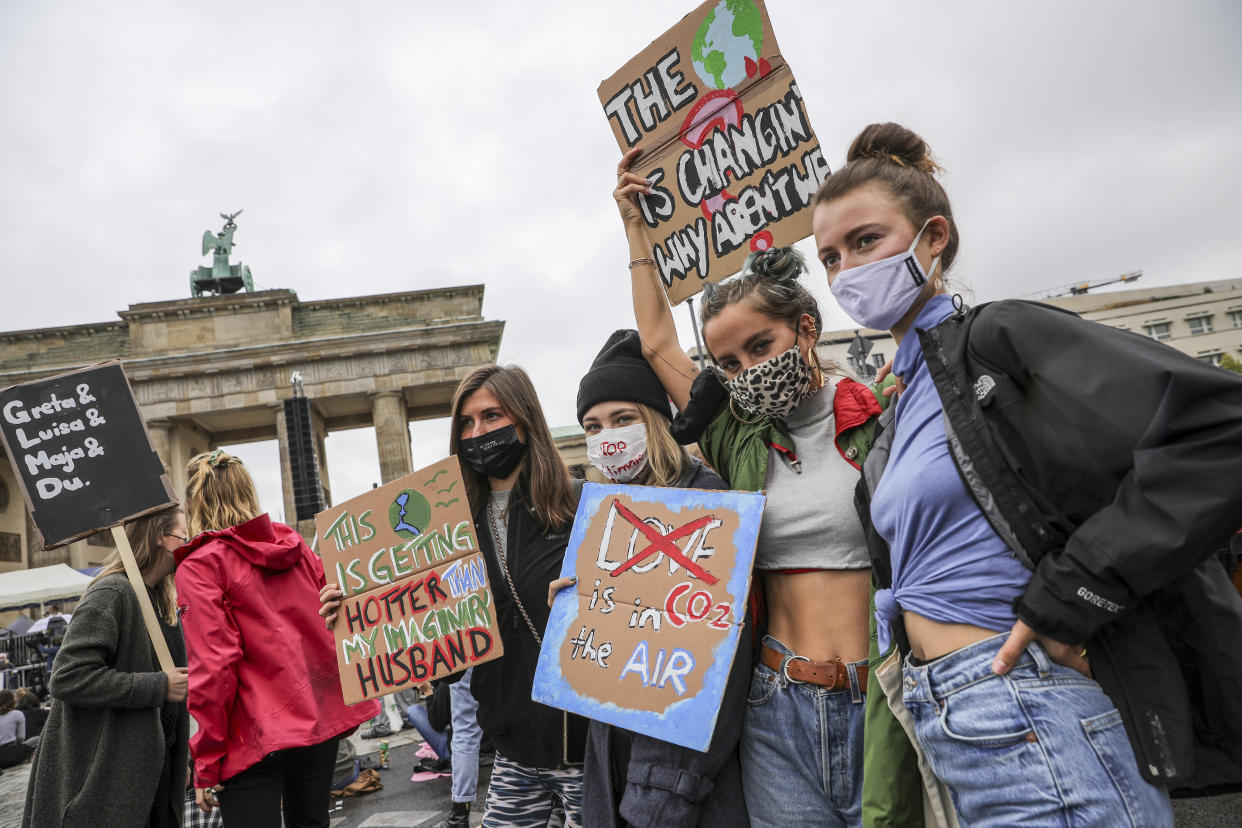 Climate activists gather on a