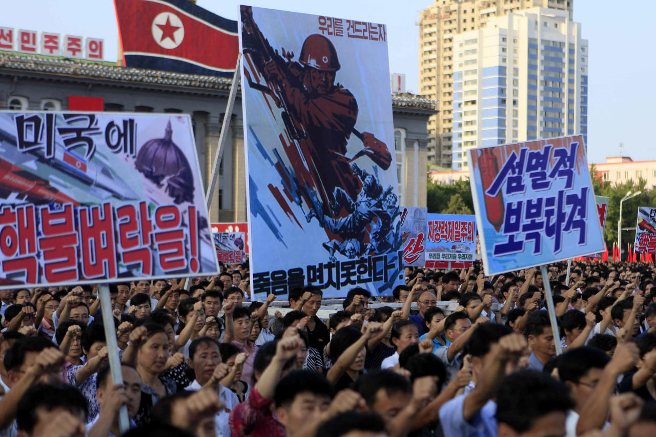 <p>Kim Il Sung Square was packed with people. (AP Photo/Jon Chol Jin) </p>