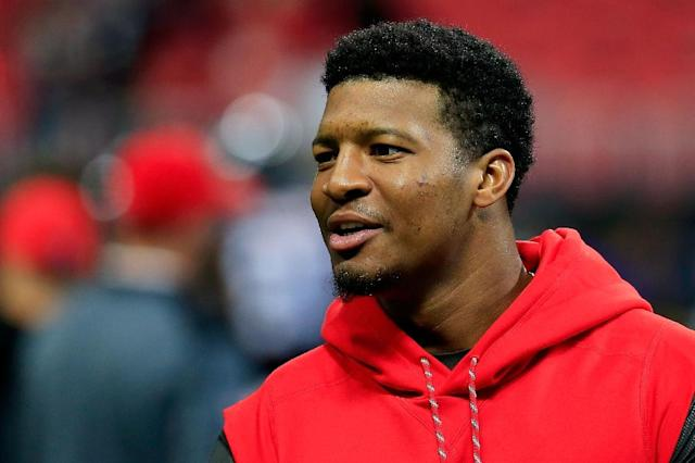 Jameis Winston, pictured November 2017, was hit with a suspension after a long-running investigation into his groping of a female driver in Arizona in 2016 and has now apologised to his team for his behavior (AFP Photo/Daniel Shirey)