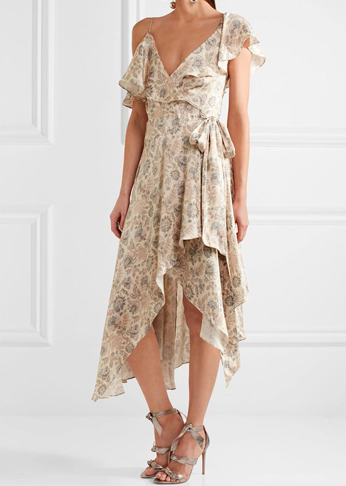 "Zimmerman Ruffled Floral-Print Wrap Dress, $850; at <a rel=""nofollow"" href=""https://www.net-a-porter.com/us/en/product/855930/zimmermann/ruffled-floral-print-silk-satin-wrap-dress"" rel="""">Net-a-Porter</a>"