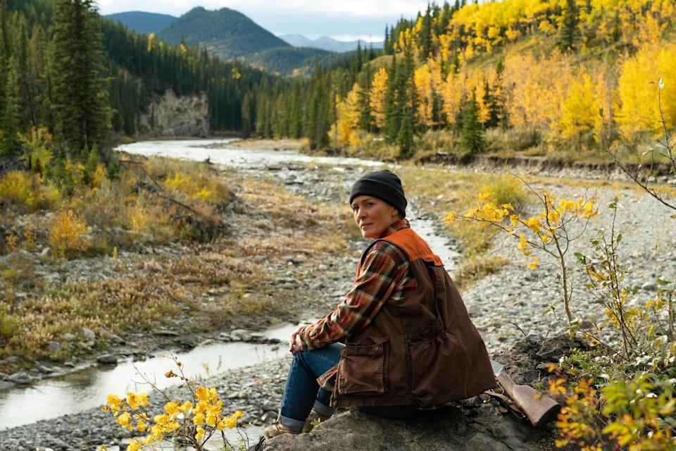 """<p>Robin Wrights takes a huge step away from her <em>House of Cards</em> character, Claire Underwood, in this story of a woman who moves to the Rocky Mountains to grieve a loss. There, she meets a local hunter who helps her on her journey of healing and self-discovery. Think Cheryl Strayed's <em>Wild</em> vibes meets a little bit of <em>The Revenant</em> (except not as gruesome).</p> <p><a href=""""https://www.amazon.com/Land-Robin-Wright/dp/B08X8H15GJ"""" rel=""""nofollow noopener"""" target=""""_blank"""" data-ylk=""""slk:Rent it on Amazon Prime"""" class=""""link rapid-noclick-resp""""><em>Rent it on Amazon Prime</em></a></p>"""