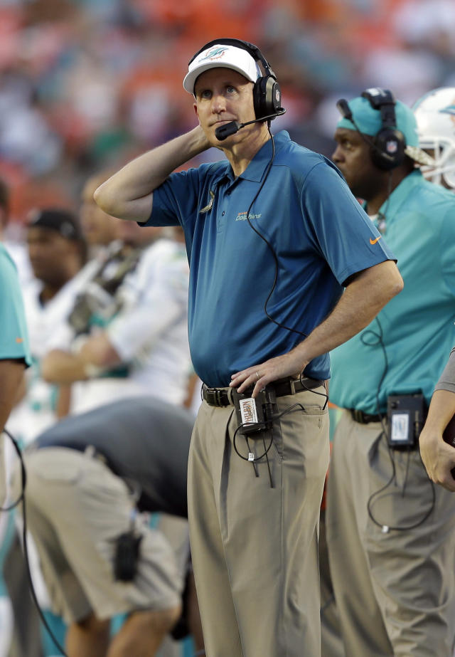 Miami Dolphins head coach Joe Philbin gestures during the first half of an NFL football game against the San Diego Chargers, Sunday, Nov. 17, 2013, in Miami Gardens, Fla. (AP Photo/Wilfredo Lee)