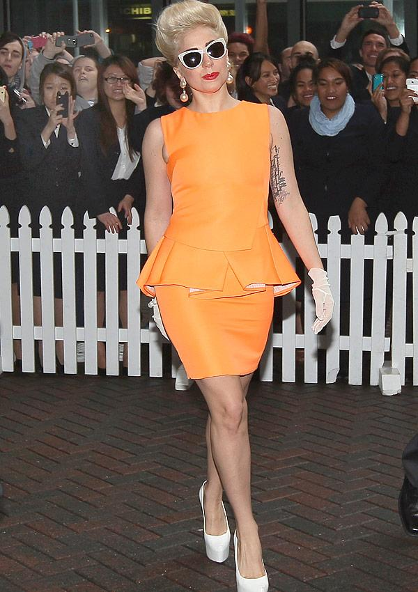 Lady Gaga Cleans Up Her Act In A Pretty Peplum Dress
