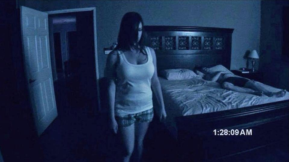 """<p><strong><em>Paranormal Activity</em></strong></p><p>A young couple decides to break out the video camera and record the bizarre occurrences happening in their home. </p><p><a class=""""link rapid-noclick-resp"""" href=""""https://www.amazon.com/Paranormal-Activity-Katie-Featherston/dp/B00304LF0W/?tag=syn-yahoo-20&ascsubtag=%5Bartid%7C10055.g.29120903%5Bsrc%7Cyahoo-us"""" rel=""""nofollow noopener"""" target=""""_blank"""" data-ylk=""""slk:WATCH NOW"""">WATCH NOW</a></p>"""