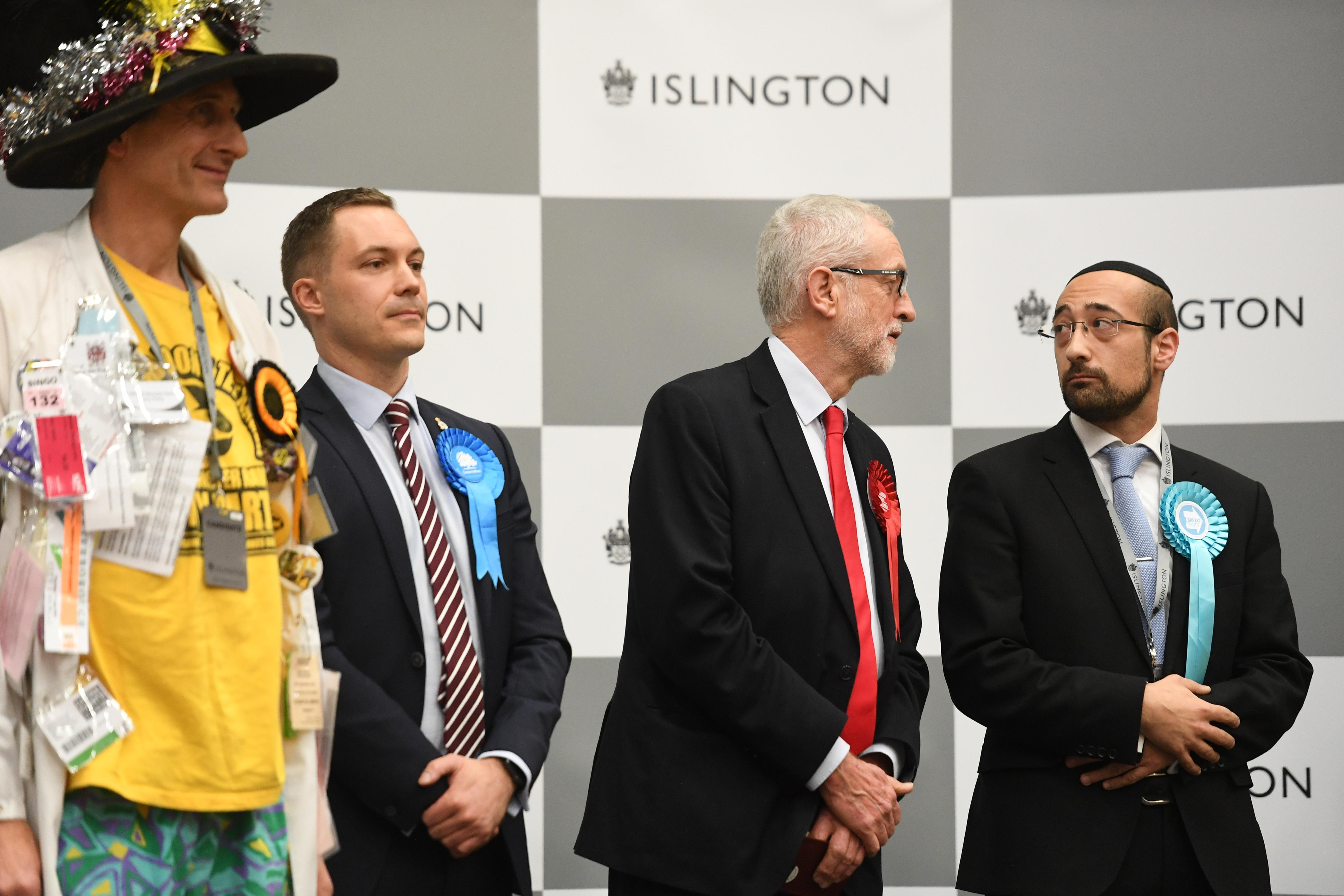 Labour leader Jeremy Corbyn speaks after the results was given at Sobell Leisure Centre for the Islington North constituency for the 2019 General Election. (Photo by Joe Giddens/PA Images via Getty Images)