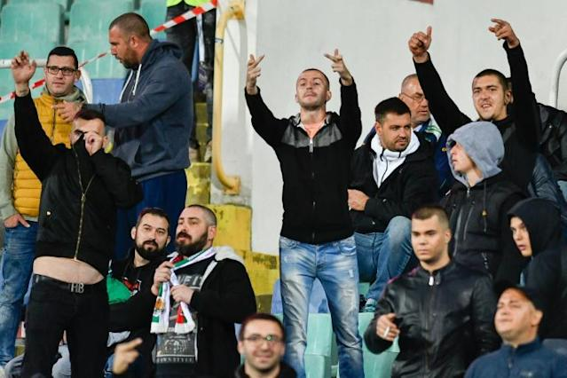 Bulgarian fans showed their disapproval as they asked to behave during one of two first-half interruptions to the game against England (AFP Photo/NIKOLAY DOYCHINOV)