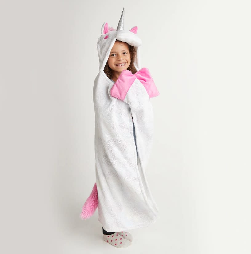 "<p>Pick up a cozy hooded throw for the little unicorn enthusiast in your life. The snuggle-ready blanket is also available in adorable cat, bear, dino and sloth options.<br><strong><a href=""https://fave.co/2DB8rgT"" rel=""nofollow noopener"" target=""_blank"" data-ylk=""slk:SHOP IT"" class=""link rapid-noclick-resp"">SHOP IT</a>:</strong> $16 (was $40), <a href=""https://fave.co/2DB8rgT"" rel=""nofollow noopener"" target=""_blank"" data-ylk=""slk:kohls.com"" class=""link rapid-noclick-resp"">kohls.com</a> </p>"