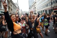 Demonstrators gather calling for nightclubs to reopen amid COVID-19 pandemic, in London