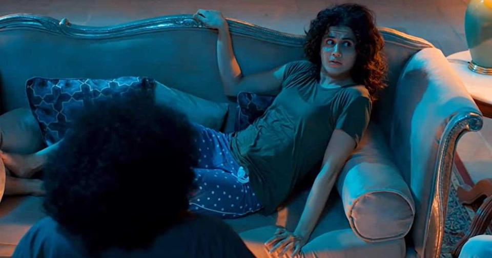 """<div class=""""paragraphs""""><p>Taapsee Pannu in a still from <em>Anabelle Rathore</em>.</p></div>"""