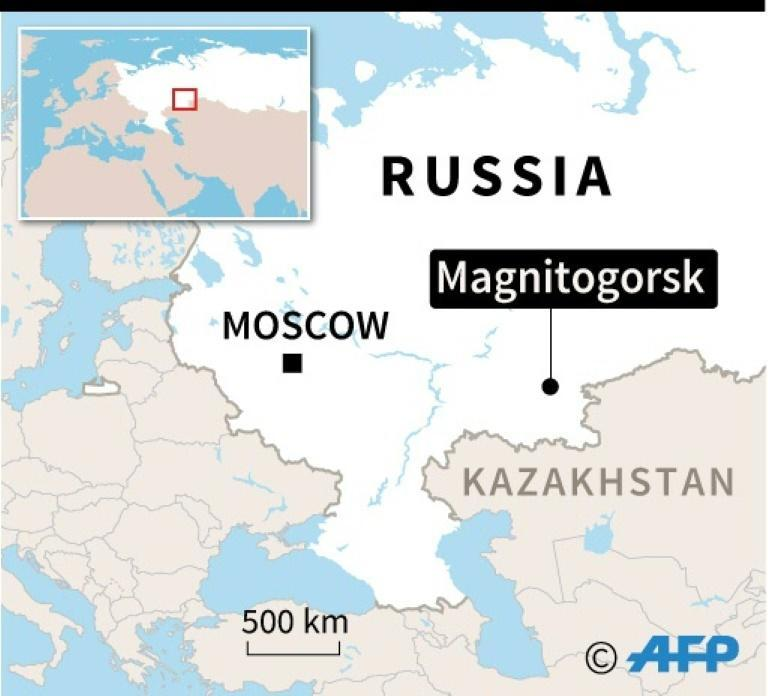 Map of Russia locating gas explosion in Magnitogorsk