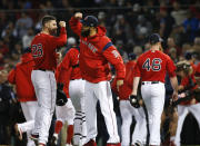 The Boston Red Sox celebrate after a 5-4 win against the New York Yankees in Game 1 of a baseball American League Division Series on Friday, Oct. 5, 2018, in Boston. (AP Photo/Elise Amendola)