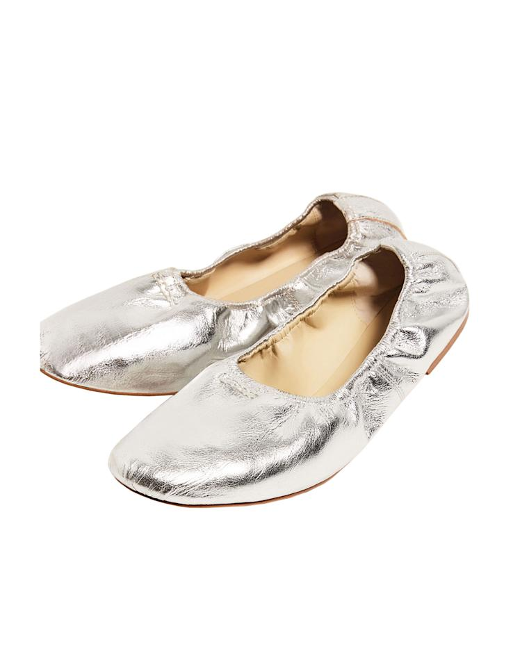 """<p>A subtle gold sheen makes these rubber-soled leather slippers a sassy alternative to basic nude shoes. Available in three other colors.<br /> <br /> <strong>To buy:</strong> $50, <a rel=""""nofollow"""" href=""""http://www.zara.com/us/en/woman/shoes/flats/soft-leather-ballerinas-c358017p4066382.html"""">zara.com</a>.</p>"""
