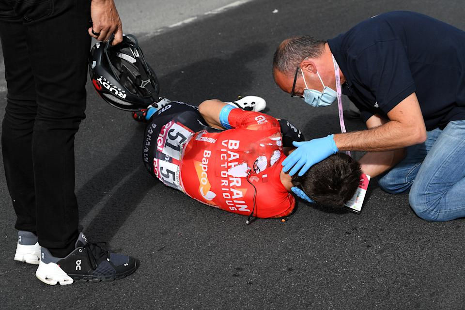 CATTOLICA, ITALY - MAY 12: Mikel Landa Meana of Spain and Team Bahrain Victorious are involved in an accident and is assisted by the medical team during the 104th Giro d'Italia 2021, Stage 5 a 177km stage from Modena to Cattolica / Crash / Injury / Abandon / @girodiitalia / #Giro / on May 12, 2021 in Cattolica, Italy. (Photo by Tim de Waele/Getty Images)