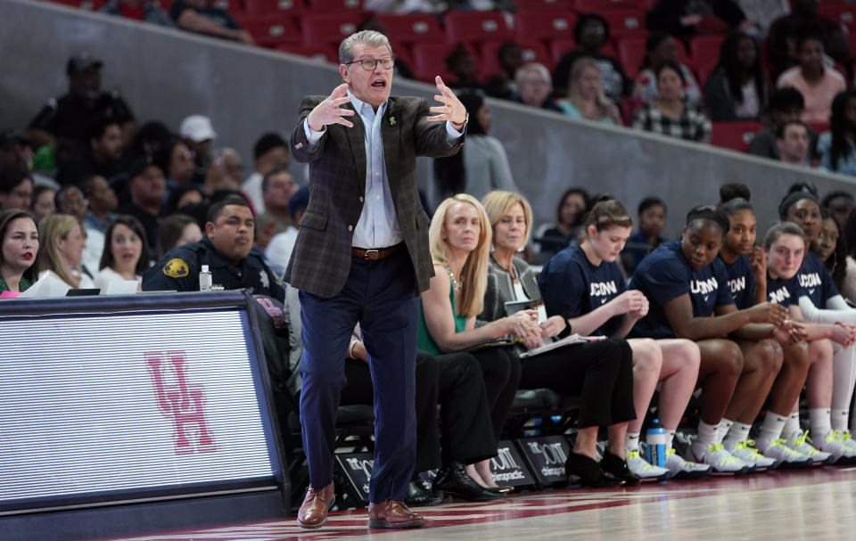 Connecticut coach Geno Auriemma yells to his players during the first half of an NCAA college basketball game against the Houston Saturday, Feb. 29, 2020, in Houston. (AP Photo/David J. Phillip)