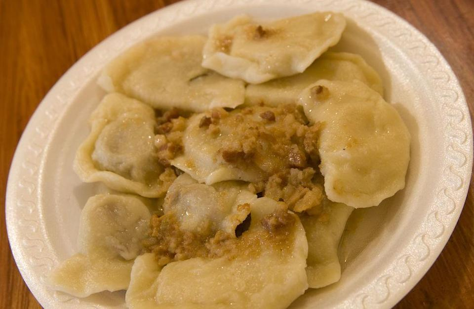 """<p>In case you haven't heard of them, pierogi are traditional Polish dumplings. You can get them filled with meat, but they can be veggie too and will make a nice break from the norm. <a rel=""""nofollow noopener"""" href=""""https://www.lazycatkitchen.com/ruskie-pierogi-traditional-polish-dumplings/"""" target=""""_blank"""" data-ylk=""""slk:Lazy Cat Kitchen's version"""" class=""""link rapid-noclick-resp"""">Lazy Cat Kitchen's version</a> are vegan too! [Photo: Rex] </p>"""