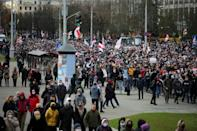 """The first major independent report into the Belarus election and subsequent crackdown on protests (opposition protesters pictured November 1, 2020 in Minsk) by authorities said human rights abuses """"were found to be massive and systematic"""""""