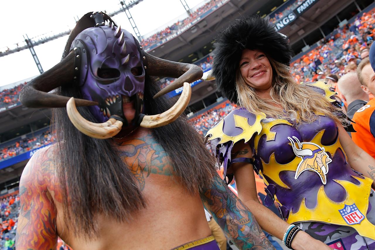 <p>Fans support the Minnesota Vikings as they face the Denver Broncos at Sports Authority Field at Mile High on October 4, 2015 in Denver, Colorado. The Broncos defeated the Vikings 23-20. (Photo by Doug Pensinger/Getty Images) </p>