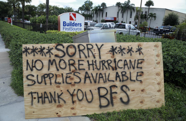 <p>A sign warns potential shoppers preparing for Hurricane Irma that Builders FirstSource in Riviera Beach, Fla., has 'no more hurricane supplies available' Tuesday, Sept. 5, 2017. (Photo: Bruce R. Bennett/The Palm Beach Post via ZUMA Wire) </p>
