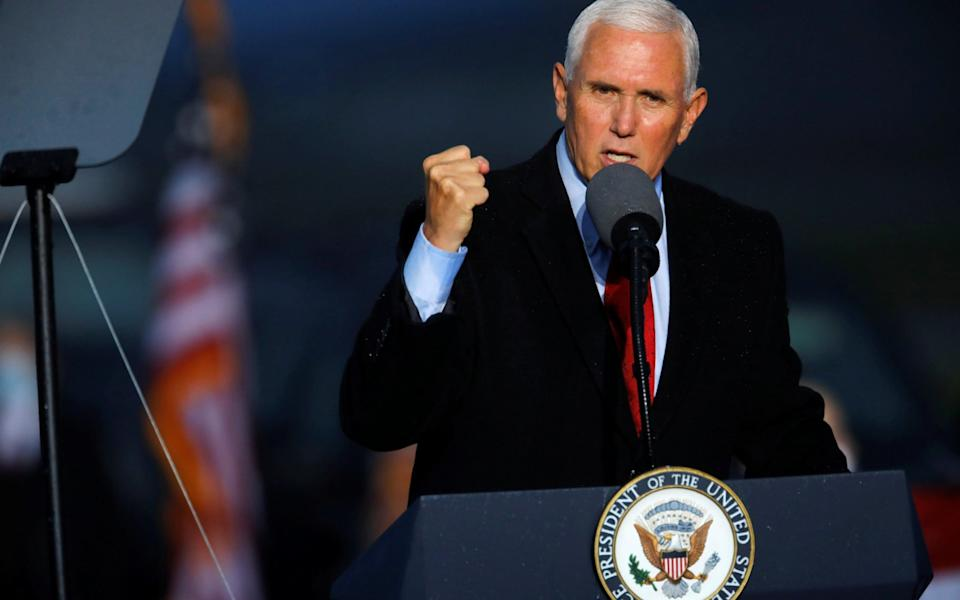 Mike Pence speaks at a rally in North Carolina on Sunday night - Reuters