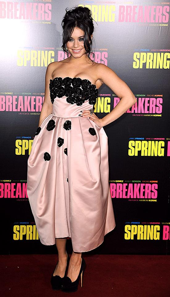 "PARIS, FRANCE - FEBRUARY 18:  Vanessa Hudgens attends the ""Spring Breakers"" Paris Premiere at Le Grand Rex on February 18, 2013 in Paris, France.  (Photo by Pascal Le Segretain/Getty Images)"