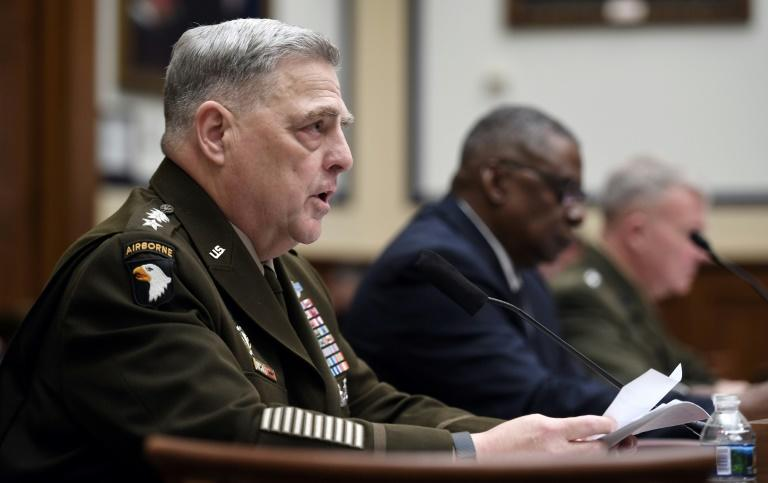 General Mark Milley (L), chairman of the Joint Chiefs of Staff, testifying before Congress (AFP/Olivier DOULIERY)