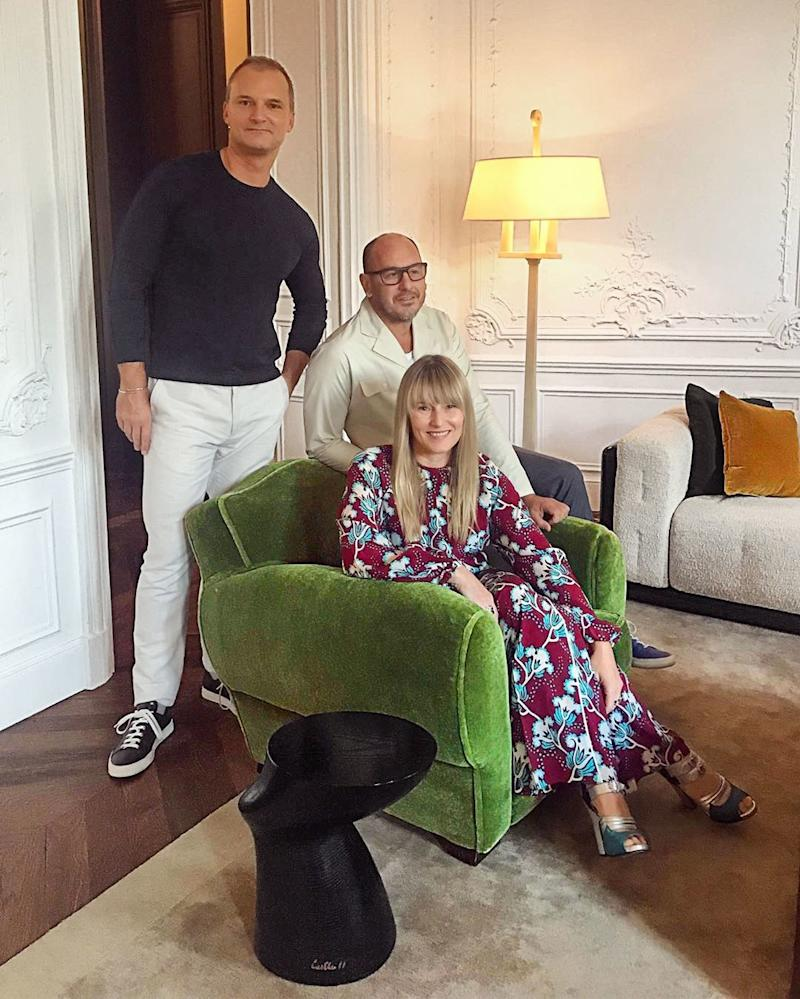 Paying a visit to the Paris office of AD100 designer Luis LaPlace, seated, and Christophe Comoy.