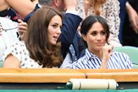 <p>Kate and Meghan have a girls' day out at Wimbledon in July (Getty) </p>