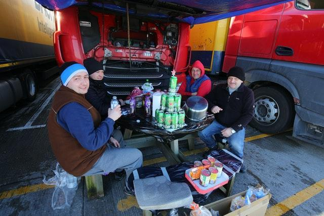 Lorry drivers share Christmas Day food and drinks