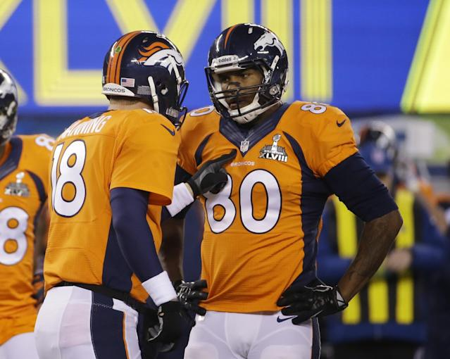 Peyton Manning, left, was able to vouch for his former Denver Broncos teammate, Julius Thomas, right. (AP)