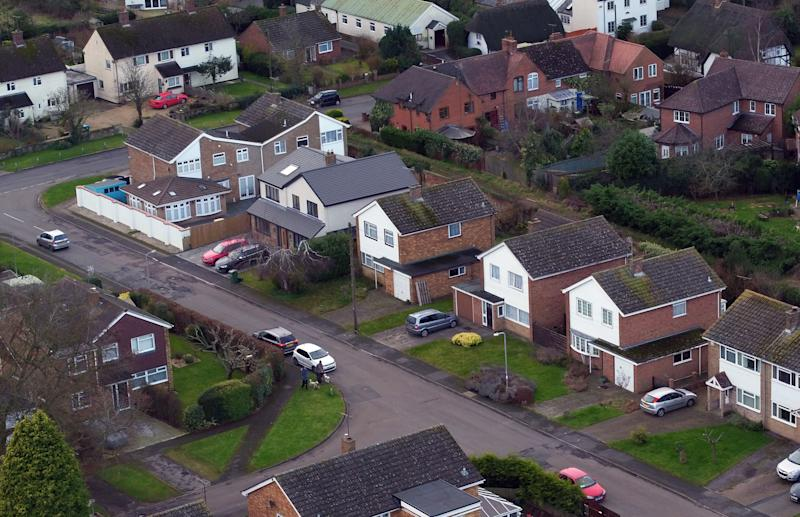 Aerial view of Manor Park in Maids Moreton, near Buckingham, Buckinghamshire of the former homes of Peter Farquhar (second house from top with two cars in the front) and Ann Moore-Martin (second house from right with no car in front). Police have launched a murder investigation into the deaths of two elderly residents, Farquhar and Moore-Martin, from the village who died more than a year-and-a-half apart. (Photo by Steve Parsons/PA Images via Getty Images)