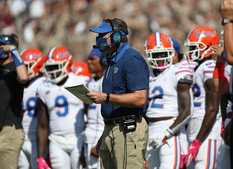 Head Coach Dan Mullen of the Florida Gators on the sideline during the first half of the game against the Texas A&M Aggies.