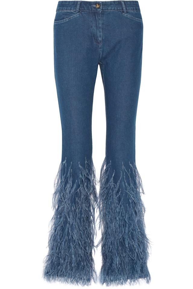 "<p><i><a href=""https://www.net-a-porter.com/gb/en/product/749947/Michael_Kors_Collection/feather-trimmed-mid-rise-flared-jeans"">Net-A-Porter, £1,665</a></i></p>"