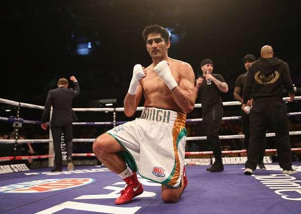 LONDON, ENGLAND - APRIL 30: Vijender Singh celebrates victory over Matiouze Royer afterthe International Middleweight Contest between Vijender Singh and Matiouze Royer at Copper Box Arena on April 30, 2016 in London, England. (Photo by Alex Morton/Getty Images)