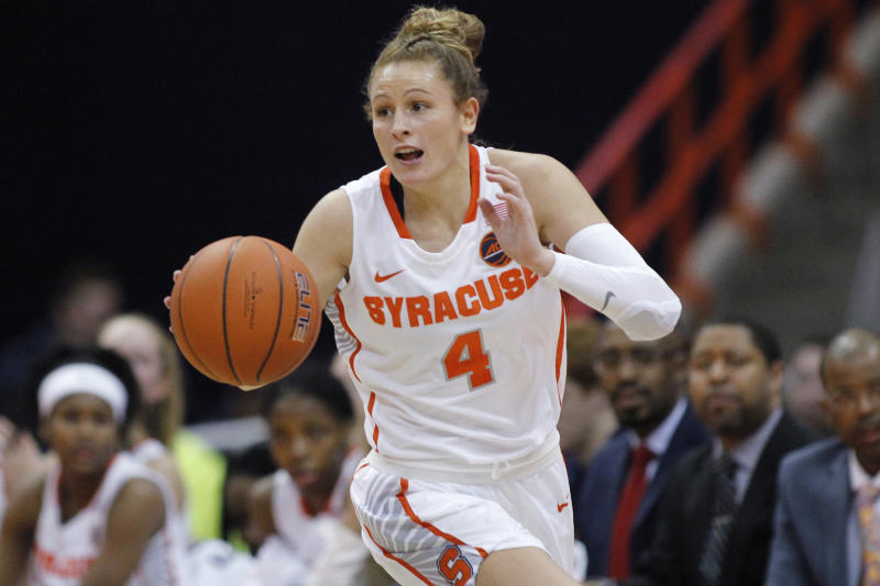 Tiana Mangakahia in a white Syracuse jersey dribbles the ball.