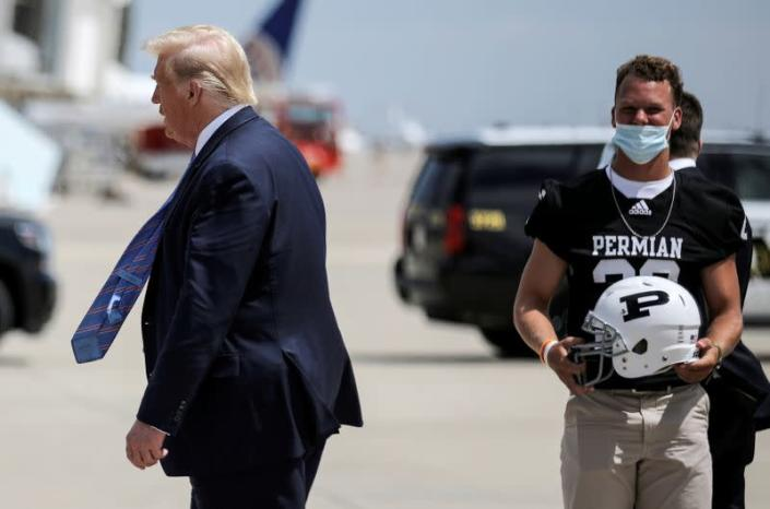 FILE PHOTO: U.S. President Trump arrives at Midland International Air and Space Port in Midland, Texas