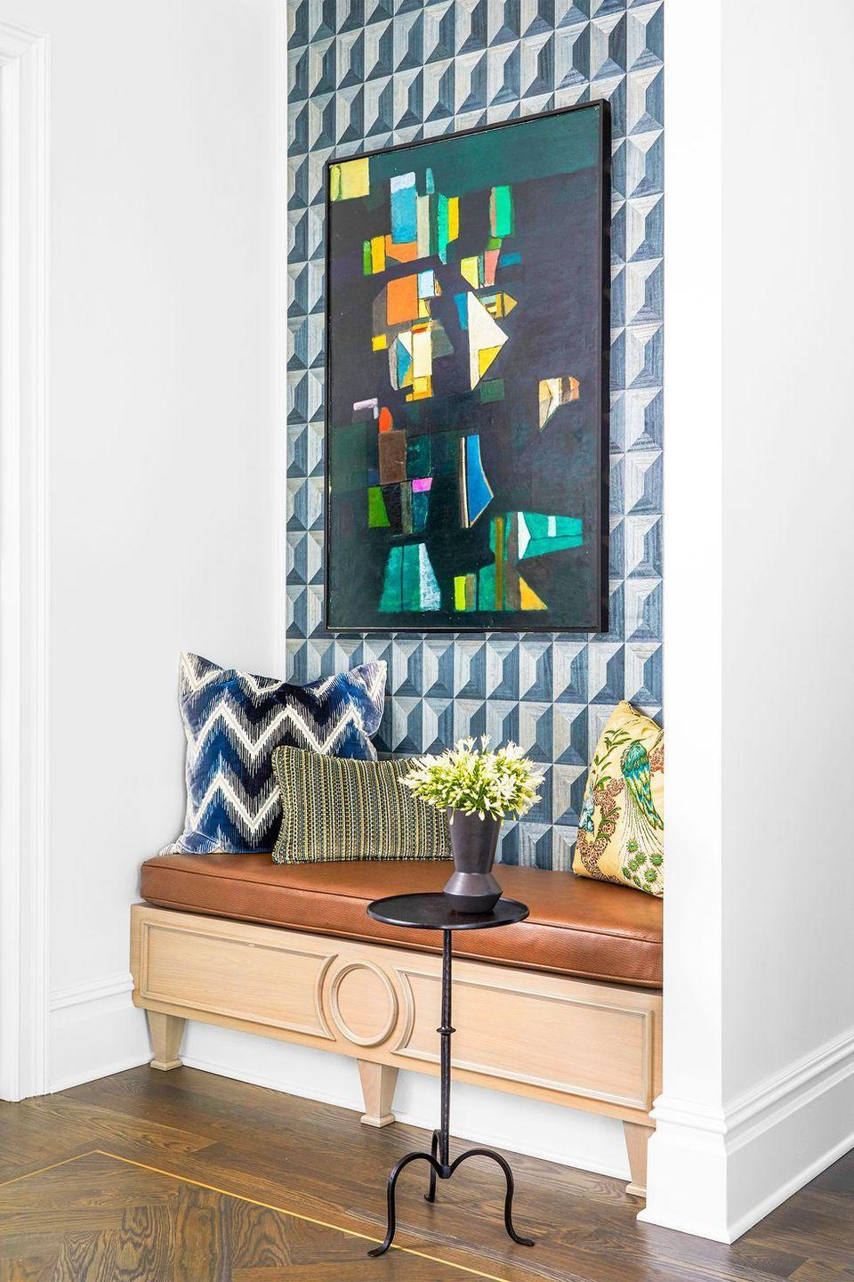 """<p>Designed by <a href=""""https://coreydamenjenkins.com/"""" rel=""""nofollow noopener"""" target=""""_blank"""" data-ylk=""""slk:Corey Jenkins"""" class=""""link rapid-noclick-resp"""">Corey Jenkins</a>, this little nook is another great example of a small but impactful banquette that can play a few different roles, from breakfast perch to shoe-lacing spot, reading nook and beyond.</p>"""