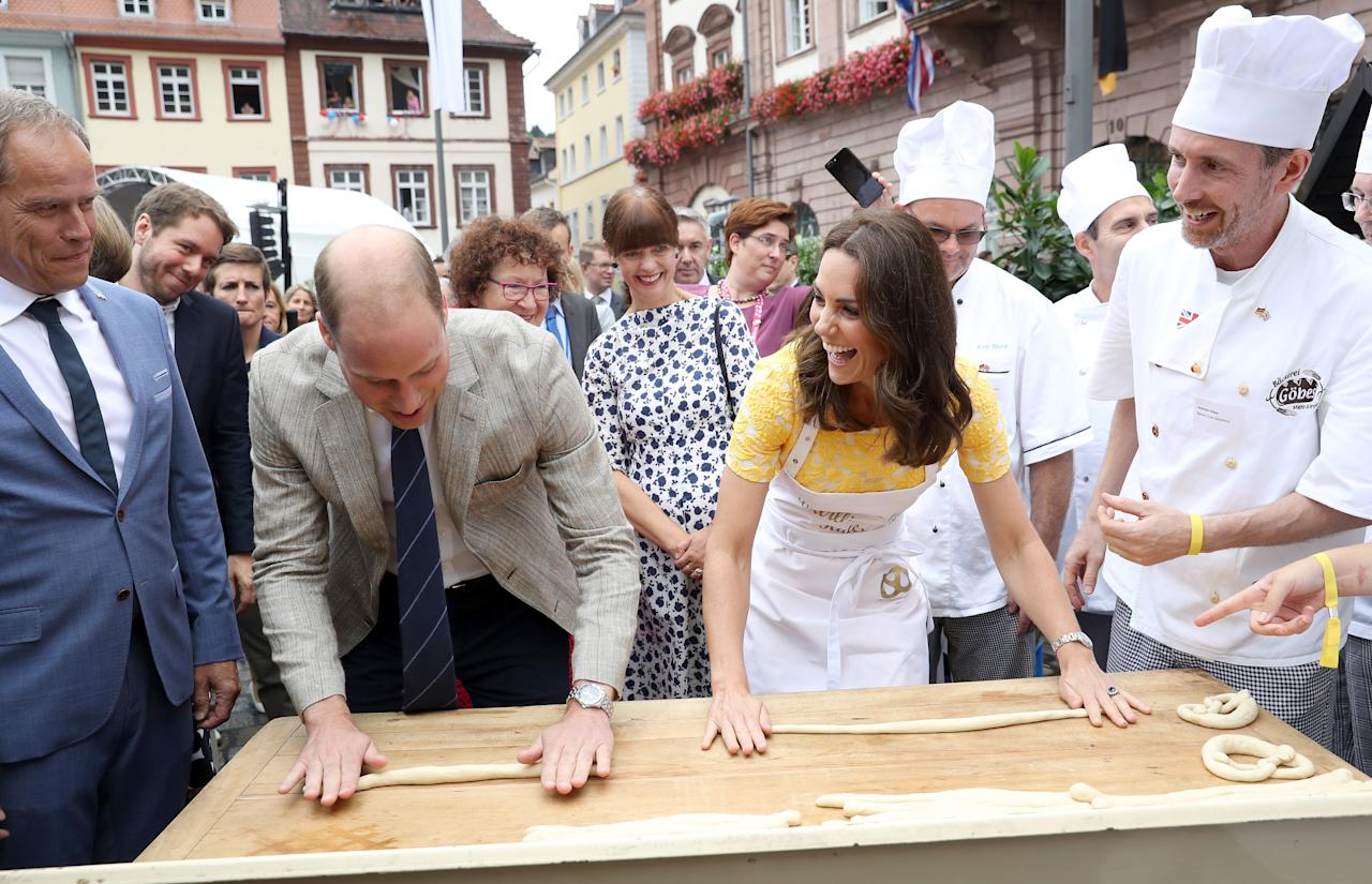 <p>On day two of their official visit to Poland and Germany back in July 2017, the royal couple demonstrated their pretzel making skills much to the delight (and amusement) of German locals on 20 July. <em>[Photo: Getty]</em> </p>