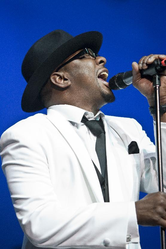 Bobby Brown, former husband of the late Whitney Houston performs with New Edition at Mohegan Sun Casino in Uncasville, Conn. on Saturday, Feb. 18, 2012. During an introduction segment between songs, Brown pointed skyward and offered blessings for his ex-wife and said he loved her. (AP Photo/Joe Giblin)