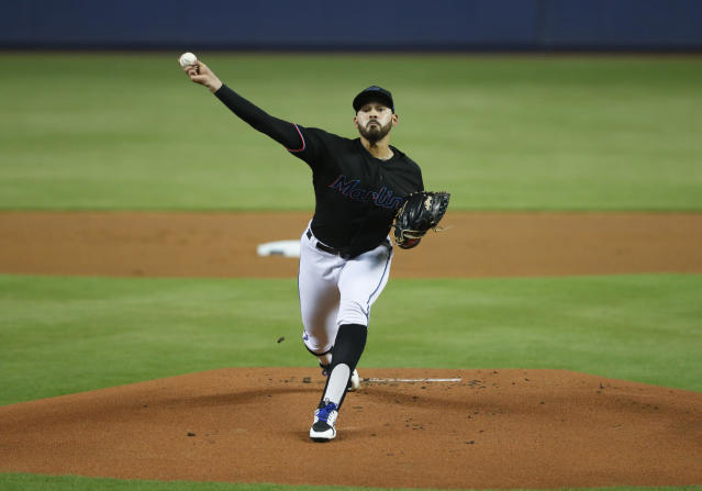 Miami Marlins' Pablo Lopez delivers a pitch during the first inning of the team's baseball game against the Pittsburgh Pirates, Saturday, June 15, 2019, in Miami. (AP Photo/Wilfredo Lee)