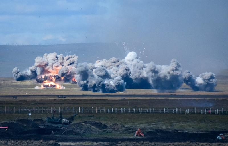 Explosions are seen during the Vostok-2018 (East-2018) military drills at Tsugol training ground not far from the Chinese and Mongolian border in Siberia