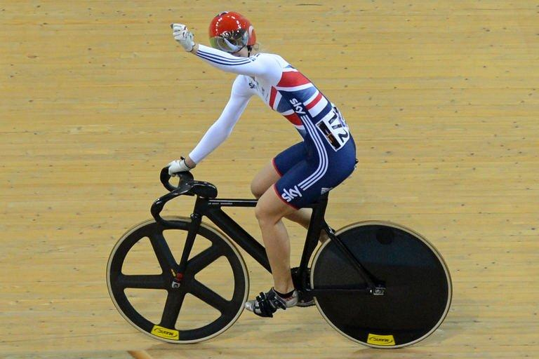 Britain's Becky James celebrates her gold medal in UCI Track Cycling World Championships Women's Sprint in Belarus' capital of Minsk on February 23, 2013. James succeeded Victoria Pendleton as world sprint champion on Saturday, breaking the six-year iron-grip on the event held by the retired English golden girl and Australia's Anna Meares