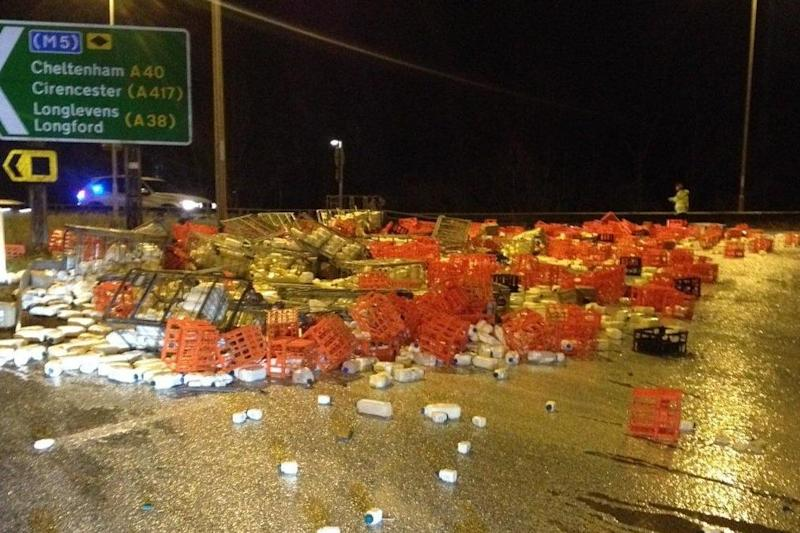 A lorry spilled its load on Thursday evening: Glos Constabulary