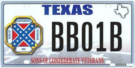 """Handout of the design of a proposed """"Sons of the Confederacy"""" Texas state license plate"""