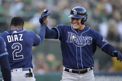 Tampa Bay Rays' Avisail Garcia, right, is congratulated by Yandy Diaz after hitting a two-run home run against the Oakland Athletics during the second inning of an American League wild-card baseball game in Oakland, Calif., Wednesday, Oct. 2, 2019. (AP Photo/Ben Margot)