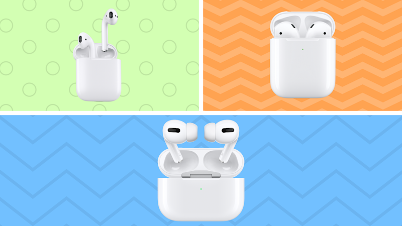 The three faces of Apple AirPods—second generation, with standard charging case and wireless charging case, and the Pro model. (Photo: Apple)