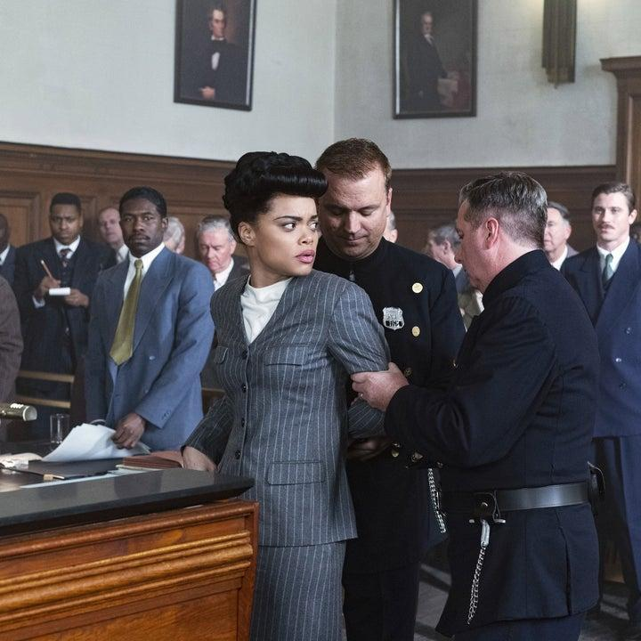Billie Holiday wearing a skirt suit during trial in The United States vs. Billie Holiday