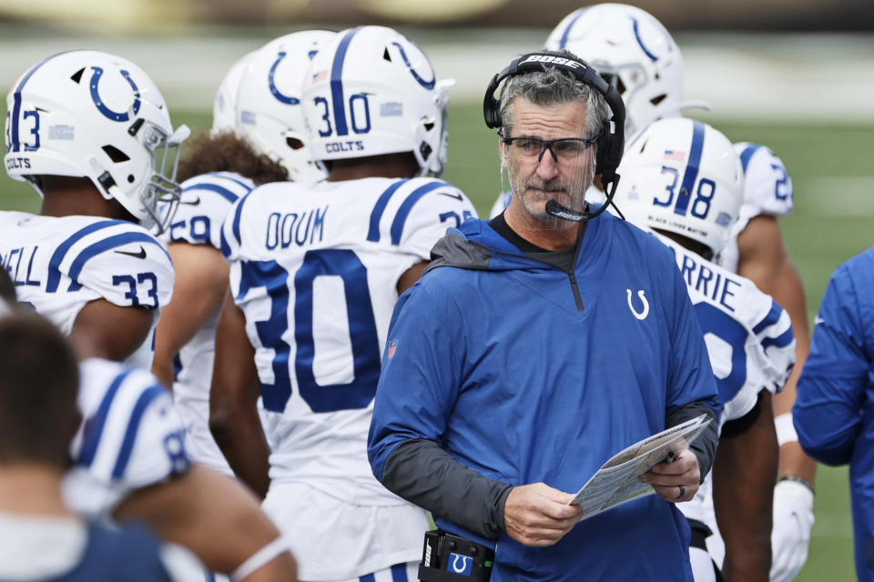 Indianapolis Colts head coach Frank Reich and his team are working remotely on Friday after positive COVID-19 tests within the organization. (AP Photo/Ron Schwane)